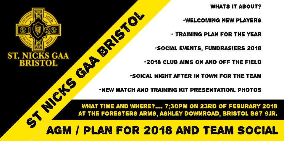 image link: St Nicks GAA Bristol AGM Soical 2018